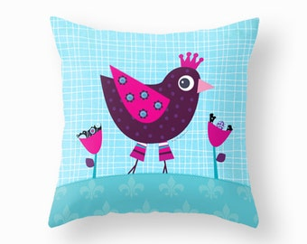 Kids throw pillow with cute princess hen, nursery throw pillow, children pillow cover, cushion cover, kids cushion, children bedding