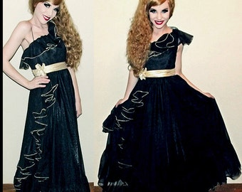 VTG 80s Black Southern Belle ORGANZA Full Sweep Maxi Party Prom Dress XS