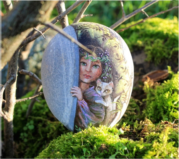 Free Shipping Painted stone. Ready to ship. Little fairy with cat , sprite of the forest painted pebble. Beach pebbles art