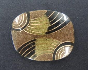 Vintage 1980's Brown Black Patterned Hard Plastic Brooch Pin
