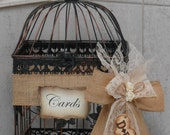 Birdcage Wedding Card Holder /  Card Box / Birdcage Card Holder / Wedding Card Holder / Barn Wedding Decor / Burlap / Country Wedding Decor