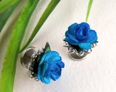 BLACKLIGHT Cheater Plugs - 1/2 inch Blue Roses - Stainless Steel