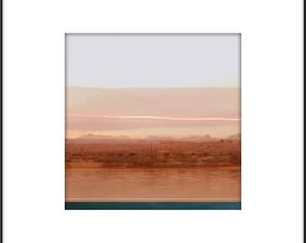 Pink Desert Landscape Photograph, Abstract Modern Wall Art, Digital Collage, Grapefruit Hue, Minimalist Home Decor, Desert Water, Pastel Art
