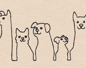 Dog Line Up Embroidered Flour Sack Hand/Dish Towel
