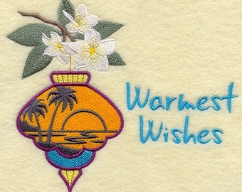 Tropical Merry Christmas Warmest Wishes Ornament Embroidered Flour Sack Hand/Dish Towel