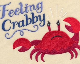 Feeling Crabby Crab Embroidered Flour Sack Hand/Dish Towel