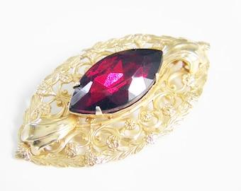 SALE Large Vintage Ruby Red Rhinestone Art Nouveau Brooch