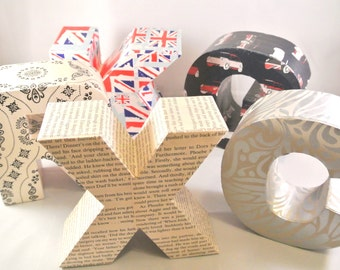SALE 60% OFF Discounted 3D Freestanding Letters Union Jack Vintage Book Pages Paisley Design Silver Mini Cars Custom Initials Personalized