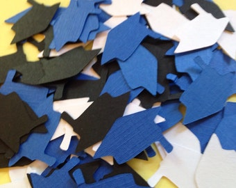 100 Black White Blue Graduation Cap Die Cuts Punch Cutout Confetti  Embellishment Scrapbook