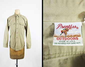 Vintage Twill Hunting Shirt Prentiss Khaki Long Sleeve Made in USA - Size Medium