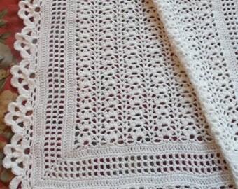 Crocheted White Baby Afghan (bk92)