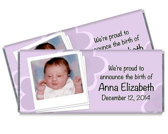 Flower Power Girl Photo Birth Announcements Photo Birth Candy Bar Wrappers