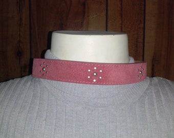 Pink suede leather choker and bracelet. w/ Silver studs
