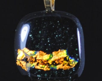 Black Gold Dichroic Fused Glass Art Pendant jewelry necklace FS 28 FREE shipping*
