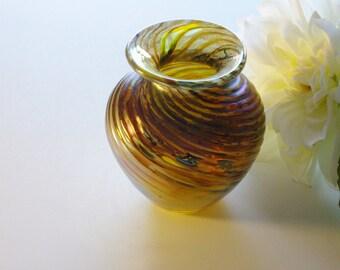 Vintage Art Glass Vase Small Metallic Swirls Hand Blown Gold