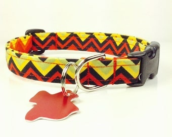 Black Yellow and Red - Dog Collar - Adjustable
