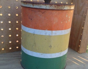 Vintage metal can, metal canister, tin can