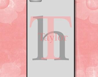 Personalized Phone Case - Monogram iPhone Case 7 Plus - 5/5S -5C - 6 - 6 Plus - Grey and Pink  Monogram -  Plastic, Rubber, Tough Case