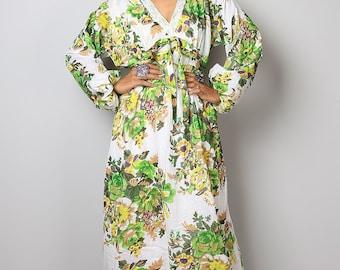 Boho Maxi Dress / Long Sleeves Bohemian Floral Dress : Asian Blend Flower Girl Collection