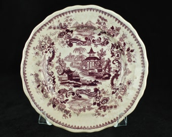 """Antique Jackson's Warranted """"Indian Pagoda"""" Purple Staffordshire 7"""" Plate"""