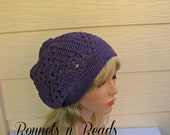 Crochet Hat,  Women's Beanie, Granny square hat, purple beanie, slouchy beanie, crochet slouchy hat, wool and bamboo, wool winter hat,