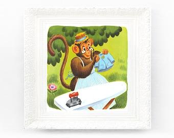 8x7 Vintage Monkey Nursery Print Fairytale Illustration Babys Bedroom Framing Original Book Plate Woodland Jungle Animal 1970s Retro BD9