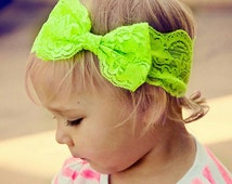 New { the Adeline } bright lime lace bow headband . Newborn, toddler, child, teen, adult