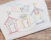 Summer Vintage Stitch Beach Shack Digital Embroidery Design Machine Applique