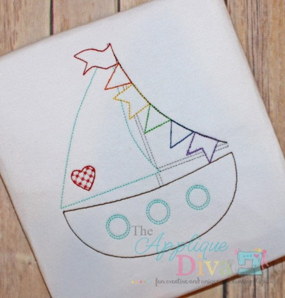 Summer vintage stitch sailboat digital embroidery design