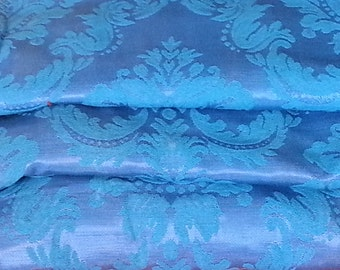 Vintage Curtains, Peacock and Periwinkle Brocade, Extra Long