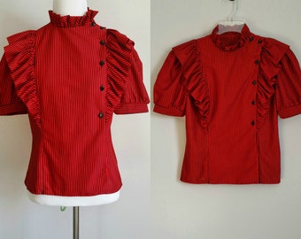 Vintage 80s Lucky Barbara Ruffle Blouse