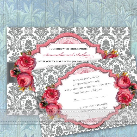 wedding invitations with rsvp, Victorian wedding, rose wedding invitations, rose bridal shower invitations, baby shower invitations, IN360