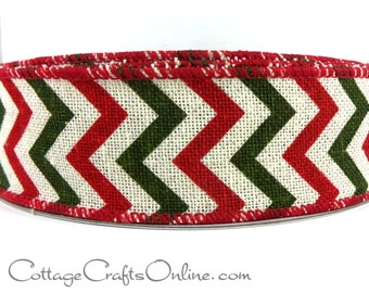 "CLEARANCE! Christmas Wired Ribbon, 1 1/2"" Chevron Red, Natural, Green, Canvas - THREE YARDS - ""Chevron Holiday"" Wire Edged Ribbon"