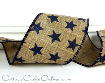 """Wired Ribbon, 2 1/2"""" wide, Navy Blue Stars on Tan Linen Look, Americana - THREE YARDS -  """"Pride"""" Patriotic, July 4th Wire Edge Ribbon"""