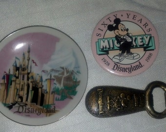 Disneyland 60 Years Pin, Mickey Mouse Bottle Opener and Sleeping Beauty Castle Souvenier Plate