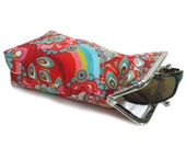 Sunglasses Case Spring Collection - Red with Mint Green Turquoise 100% cotton  - Silver Frame - Ready to ship!