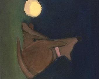 Night Play. 12x12 ready to hang, original modern oil painting.