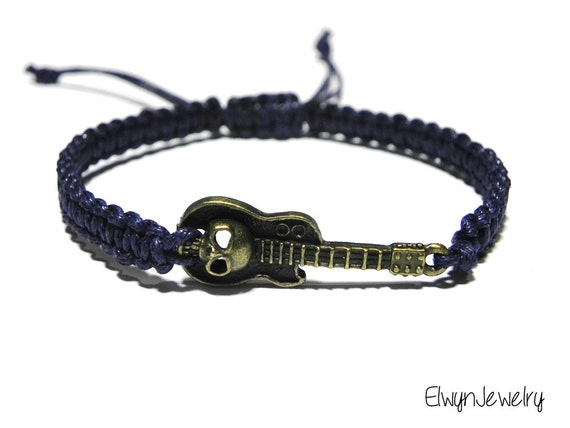 items similar to guitar bracelet skull bracelet men 39 s cord bracelet macrame bracelet guitar. Black Bedroom Furniture Sets. Home Design Ideas