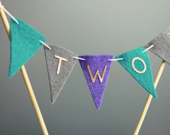 2nd Birthday Cake Topper, TWO Birthday Cake Banner, Purple Teal Gray , Gold Glitter Letters, Customizable Mini Cake Bunting, Cupcake Topper