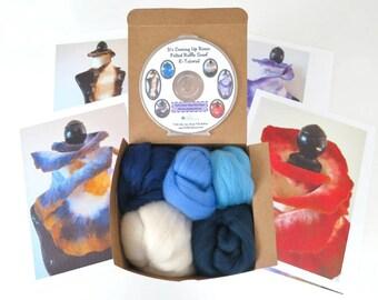 Ocean Tones Wet Felted Ruffle Scarf Kit, Merino Wool, Felting Wool, Blue Merino,  Ruffle Scarf Felting Kit, Ruffle Scarf, Felting Tutorial