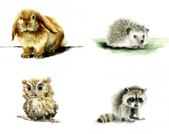 5x7 Woodland Friends Baby Animals Watercolor Prints ~ Choose Your Favorite Critter