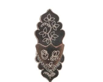Victorian Gothic Wall Pocket  , Black Beaded Velvet  , Victorian Whimsy