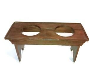 Antique Two Seater Toilet , Primitive Wooden Out House Seat , Children Bathroom , Farmhouse