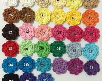 "30pc Eight Petals 2"" Crochet Flower Applique Sewing Embellishments linmo1"