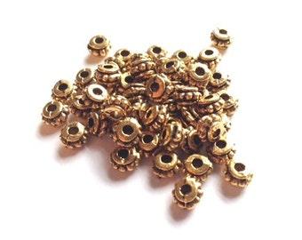 Antique Gold Tibetan 6mm Fat Rondelle Spacer Bead- 50 piece pack