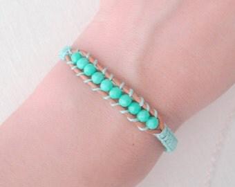 Turquoise Beaded Macrame Wrap Bracelet