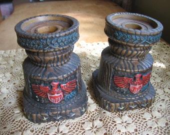 Napcoware Patriotic Candle Holders with Eagles and Stars