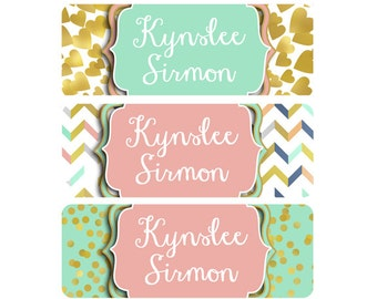 School Name Labels, Girl, Daycare Name Labels, Waterproof, Dishwasher Safe, Baby Bottle Labels, Clothing Name Labels, Name Tags, Pink, Mint