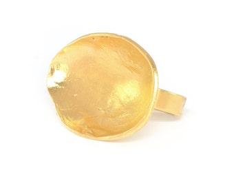 Statement Adjustable Ring, gold statement ring, gold ring, gold rings for women, oval ring, gold shell ring, gold adjustable ring