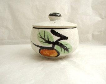 Shino Glaze Japanese Stoneware Lidded Pot, Small Lidded Pot, Vintage Japaese Lidded Bowl, Shino Glaze Bowl,